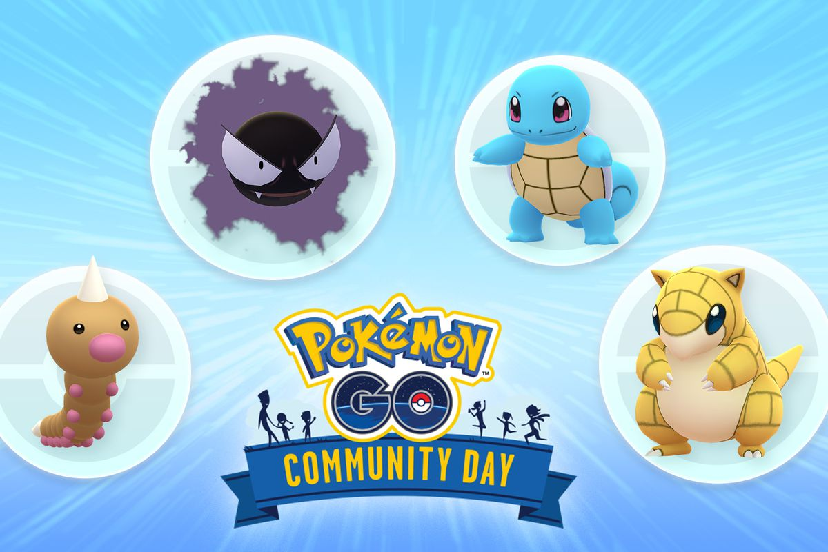 A Squirtle, Gastly, Weedle, and Sandshrew stand around the Pokémon Go logo