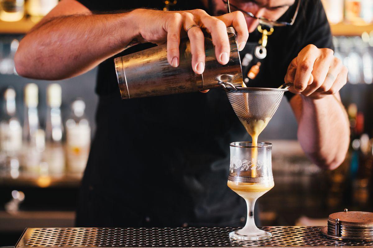A bartender at Melbourne's the Black Pearl makes a classic Espresso Martini