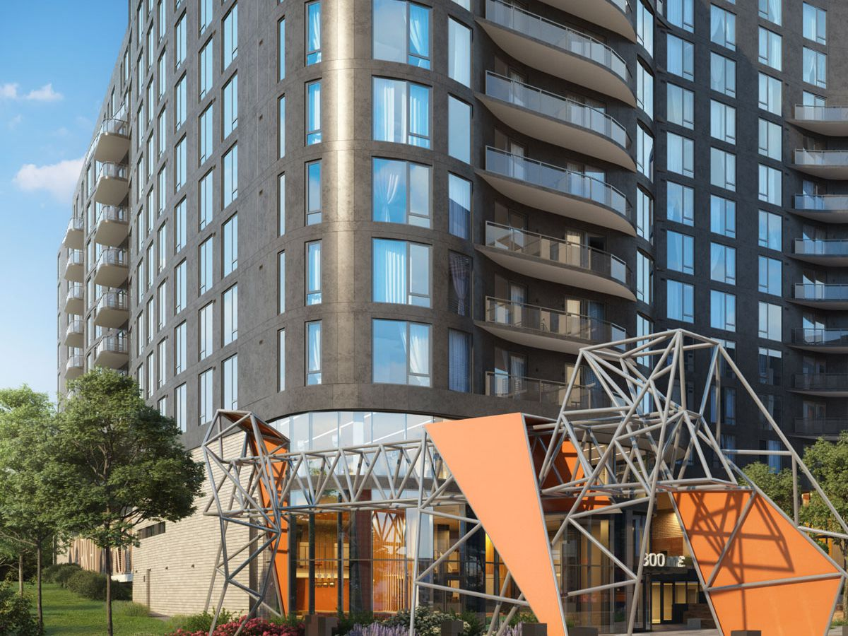 A rendering of a planned development, about 10-stories tall. There is a modern sculpture out front.