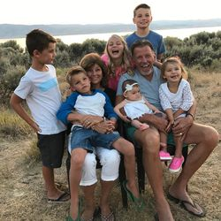Linda and Richard Eyre with several of their grandchildren at Bear Lake.