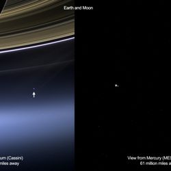 Earth from Saturn and from Mercury