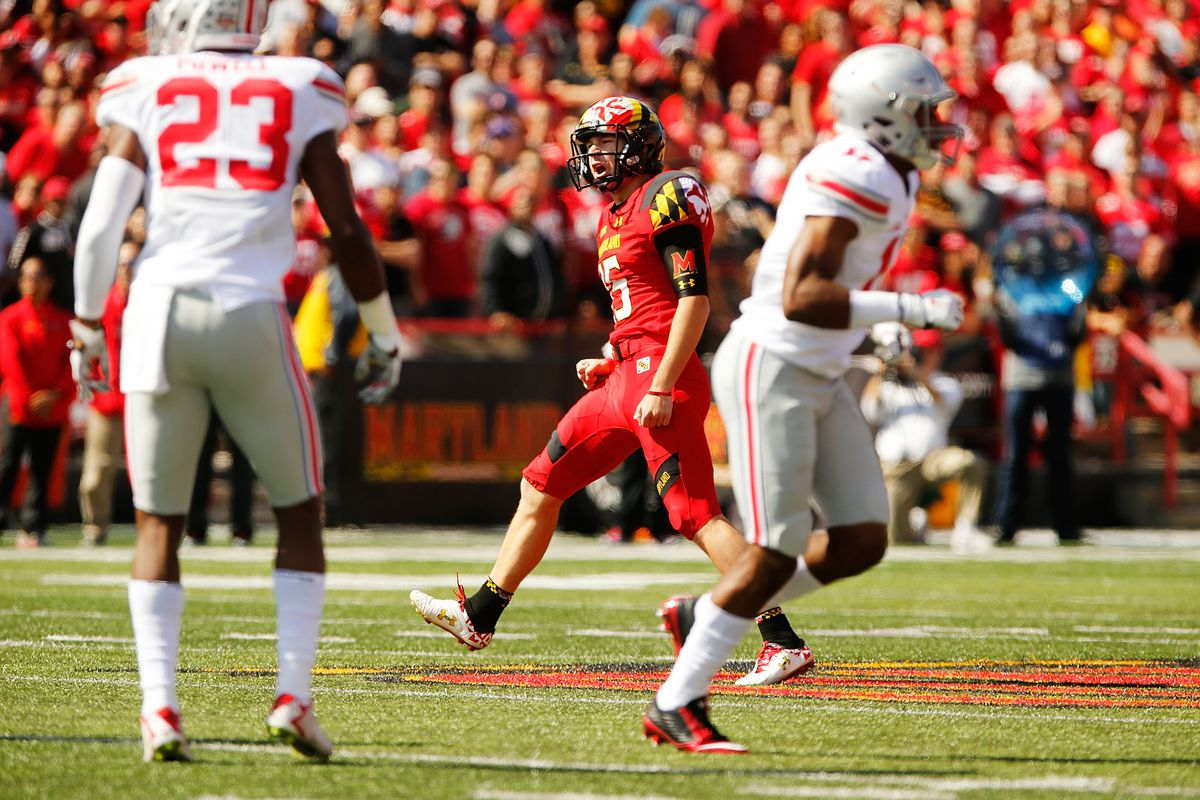 Brad Craddock celebrates his 57-yard field goal against Ohio State on Oct. 4.