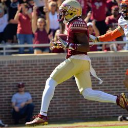 JR WR Nyqwan Murray crosses the goal line after hauling in a long pass for FSU's first points of the day.