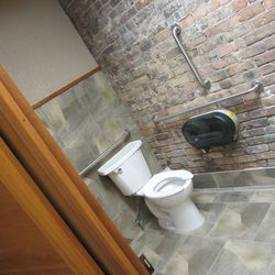 The brewery's updated restrooms. They hope to now have the nicest restrooms on 7 Corners.