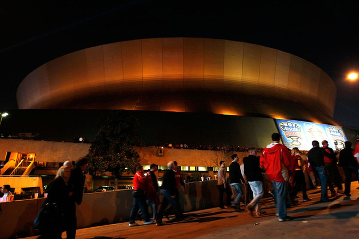 NEW ORLEANS LA - JANUARY 04:  A general view of the Louisiana Superdome before the Allstate Sugar Bowl between the Arkansas Razorbacks and the Ohio State Buckeyes on January 4 2011 in New Orleans Louisiana.  (Photo by Kevin C. Cox/Getty Images)