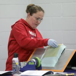 Kim Spongberg repairs a through-part honeycomb during a composites class at Davis Technical College in Kaysville on Wednesday, Jan. 29, 2020.