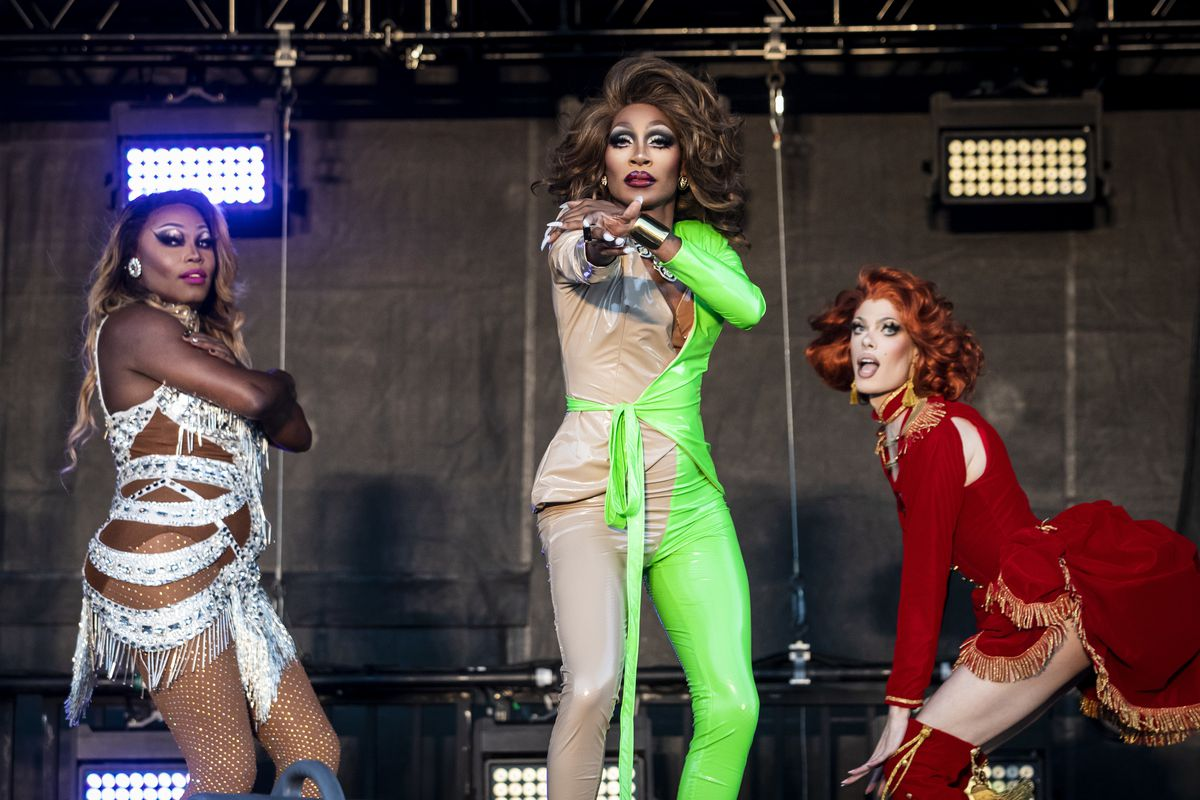 Asia O'Hara (from left), Jaida Essence Hall and Gigi Goode perform together Friday night during Drive 'N Drag.