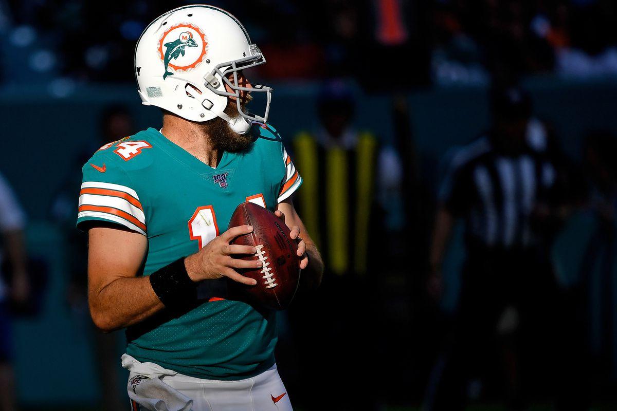 Miami Dolphins quarterback Ryan Fitzpatrick throws a pass against the Philadelphia Eagles at Hard Rock Stadium.