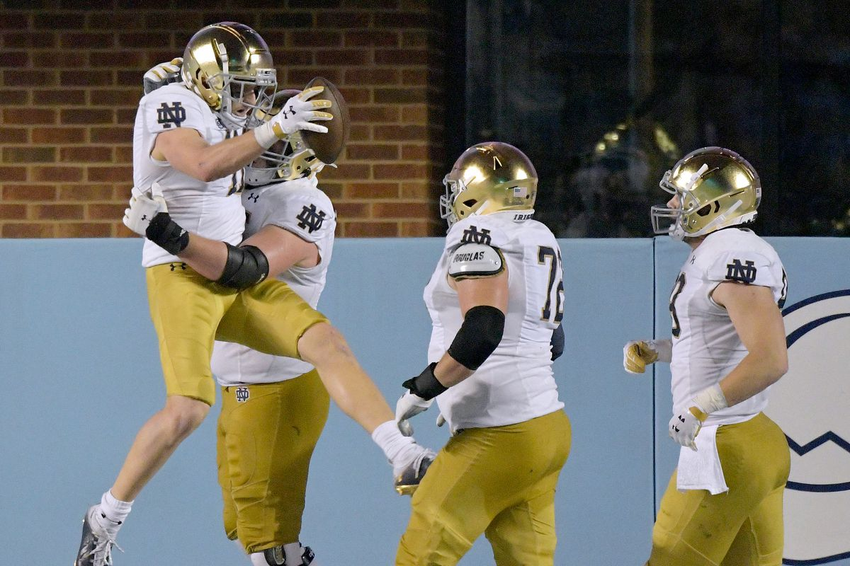 Ben Skowronek of the Notre Dame Fighting Irish celebrates after scoring a touchdown during the second half of their game against the North Carolina Tar Heels at Kenan Stadium on November 27, 2020 in Chapel Hill, North Carolina. Notre Dame won 31-17.