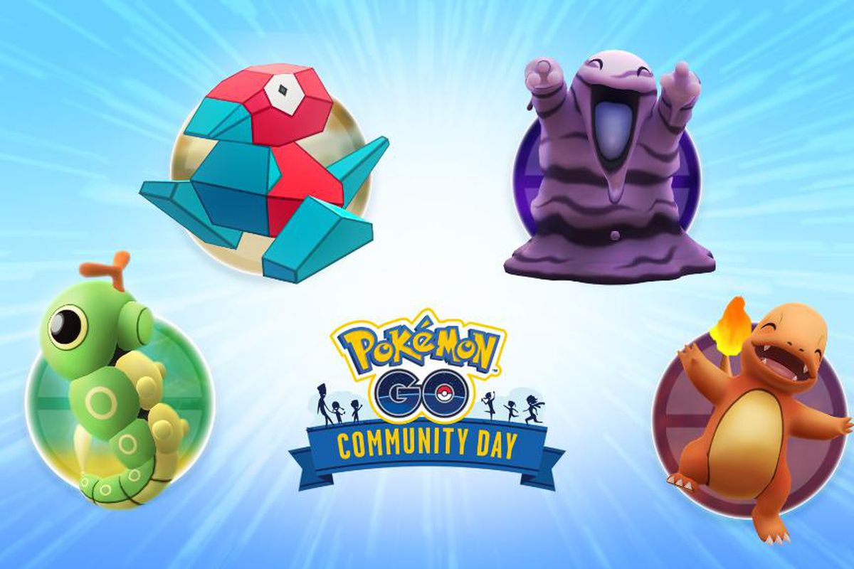 Four Pokémon surround the Pokémon Go logo on a blue background