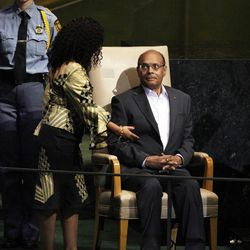 President Moncef Marzouki of Tunisia is directed by protocol to address the 67th session of the United Nations General Assembly at U.N. headquarters Thursday, Sept. 27, 2012.