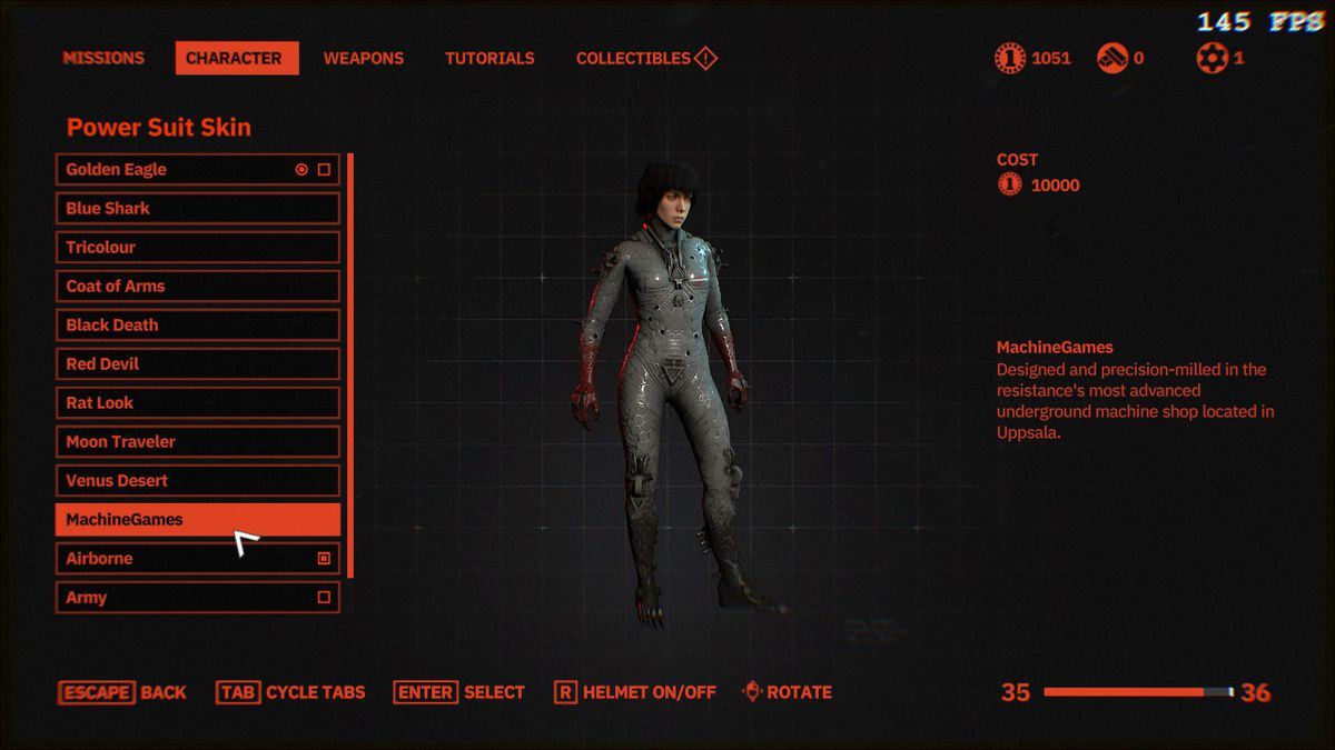 An image of the MachineGames skin in Wolfenstein: Youngblood, which sells for 10,000 silver coins.