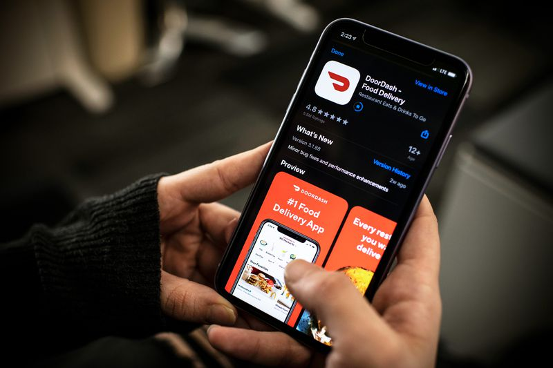 A overhead look at the DoorDash food delivery mobile app.