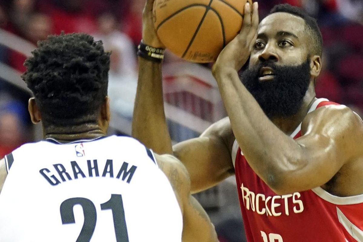 e58b7cac529 Houston Rockets  James Harden (13) shoots as Brooklyn Nets  Treveon Graham  (21) defends during the first half of an NBA basketball game Wednesday