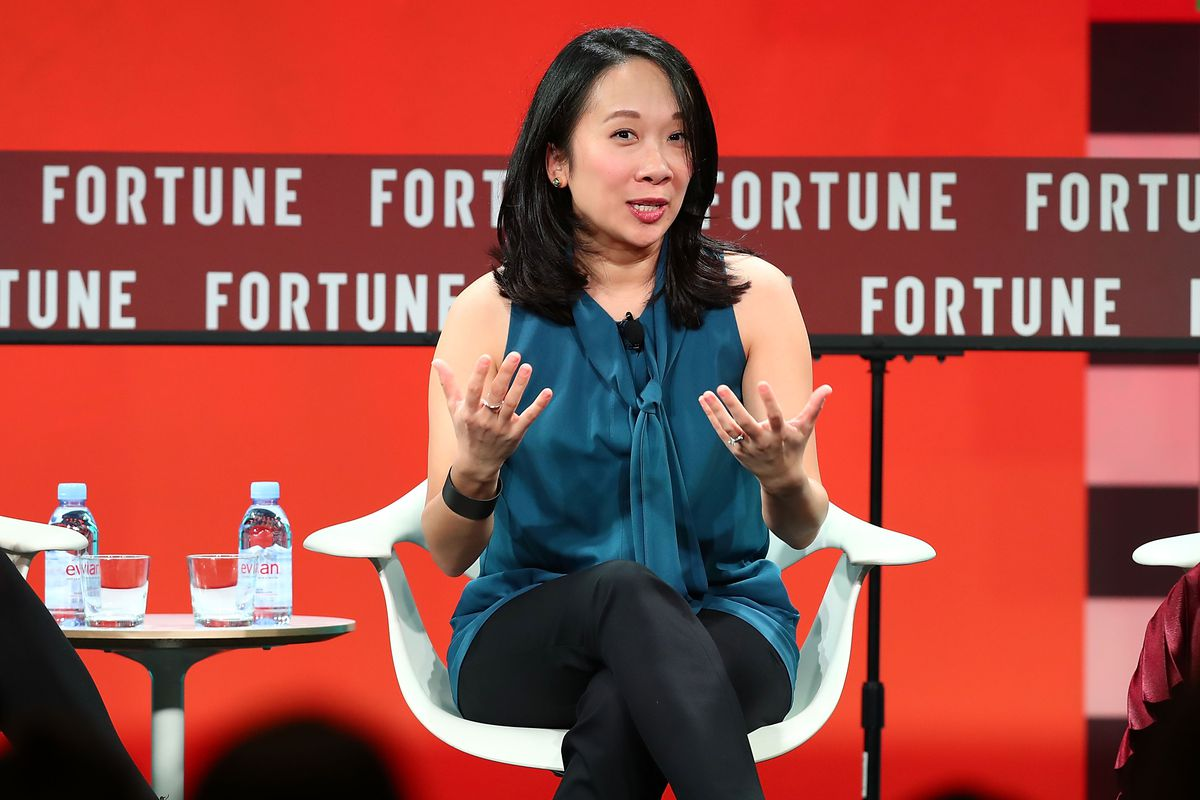 Sandra Liu Huang speaks onstage during the Fortune Most Powerful Women Next Gen conference at Monarch Beach Resort on November 14, 2017 in Dana Point, California. (Photo by Joe Scarnici/Getty Images for Fortune)
