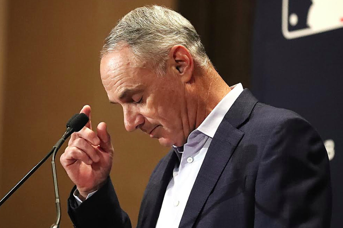"""Commissioner Rob Manfred during Tuesday's media conference in which he apologized for his """"piece of metal"""" comment."""