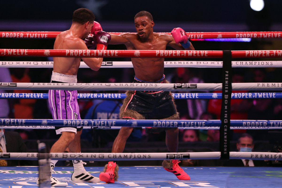 Danny Garcia and Errol Spence Jr. during their WBC & IBF World Welterweight Championship fight at AT&T Stadium on December 05, 2020 in Arlington, Texas.