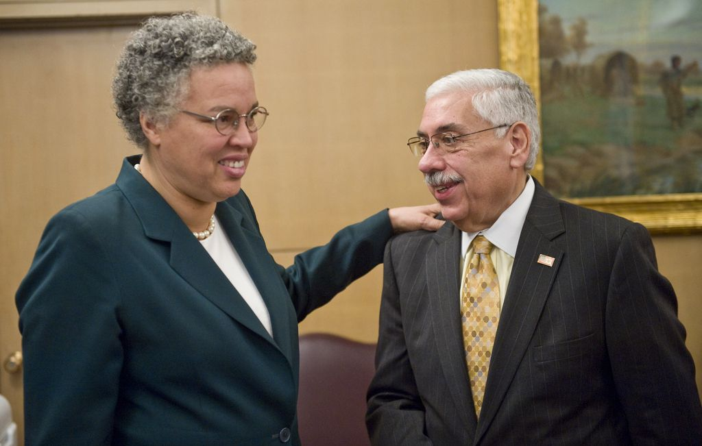 Then Cook County Board President-elect ToniPreckwinklecongratulates newly-elected County Assesor JoeBerriosthe morning after their victories in 2010.