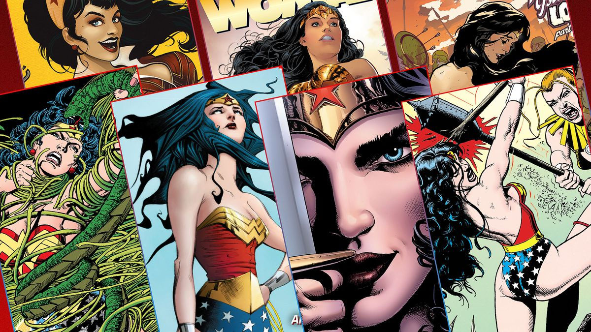 Graphic grid of seven different comic book covers featuring Wonder Woman