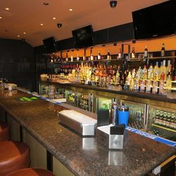 The bar at the new Public House at the Luxor.