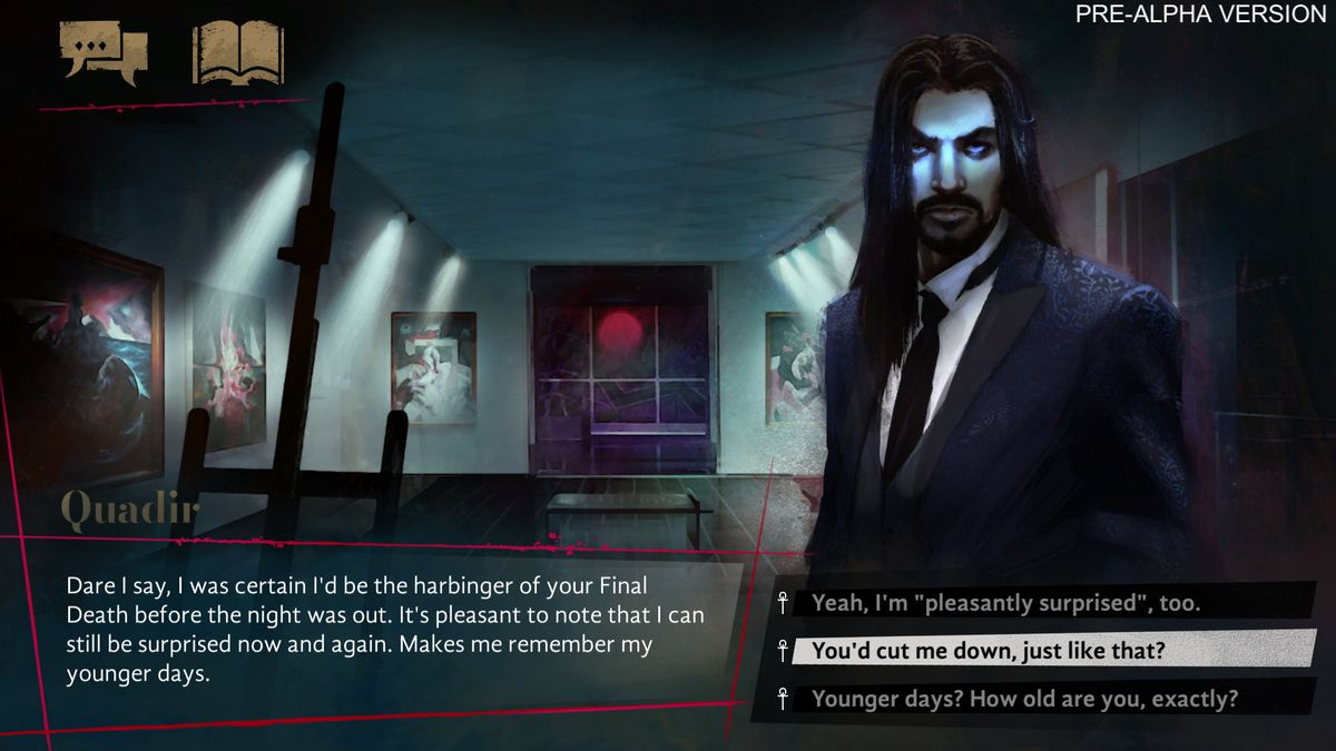 """Another conversation tree, this one with a long-haired man in a suit named Quadir. """"Dare I say, I was certain I'd be the harbinger of your Final Death before the night was out."""" The player has selected the response, """"You'd cut me down, just like that?"""""""