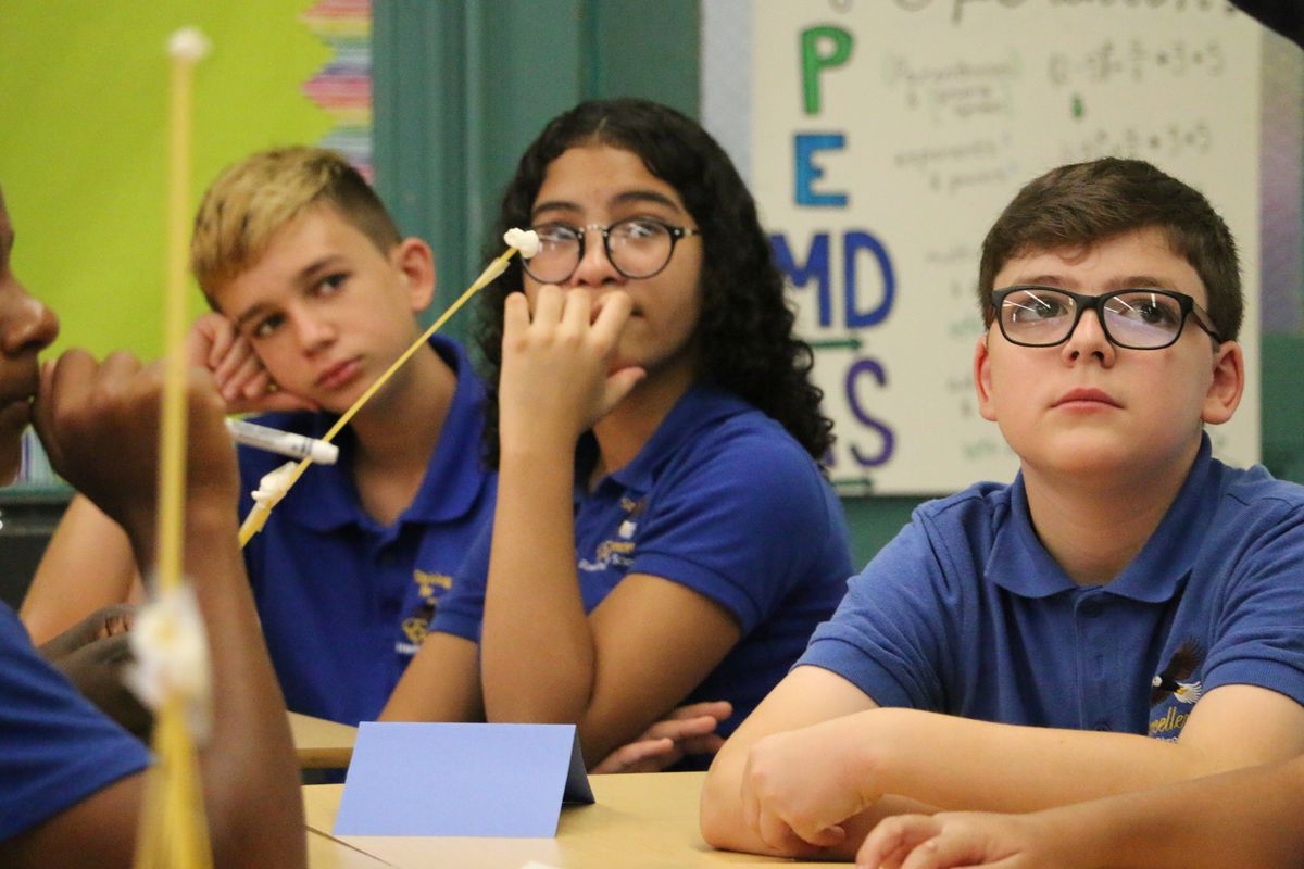 Seventh-graders listened to Superintendent León on Tuesday.