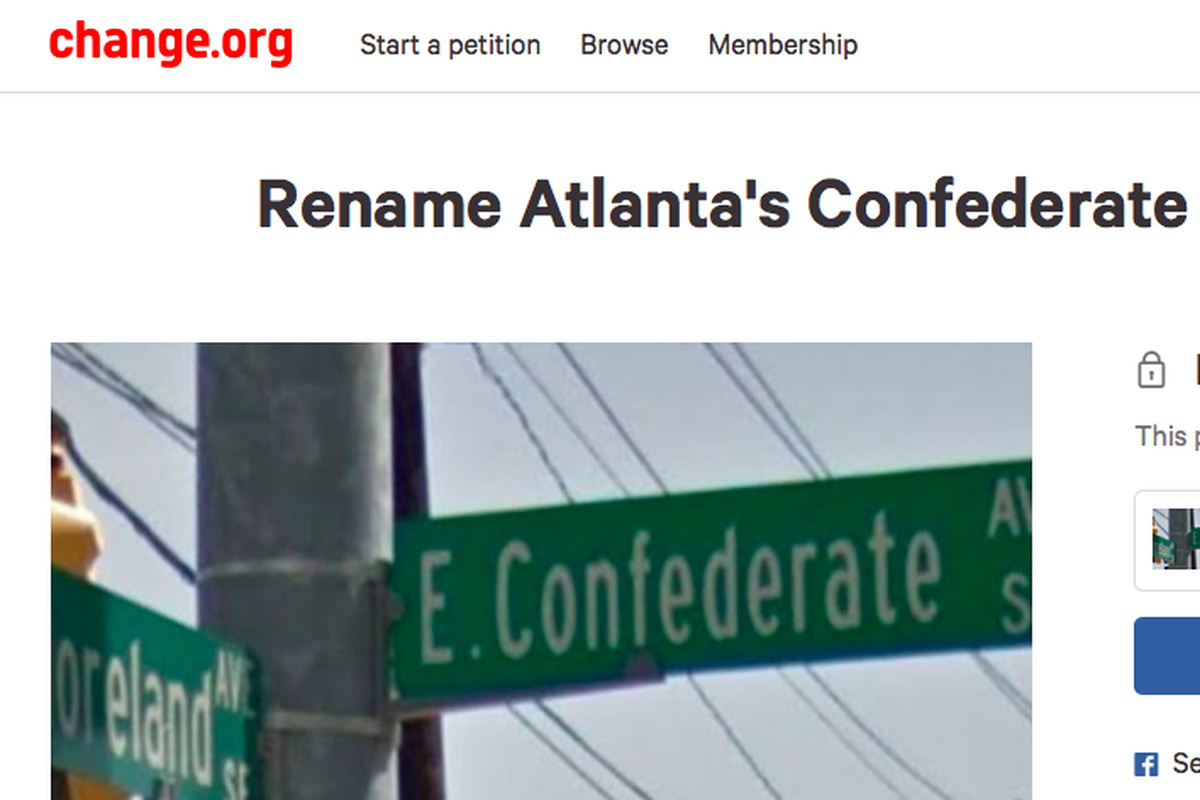 A Change.org petition, now closed, that collected more than 10,500 signatures in calling Grant Park's Confederate Avenue a vestige of hate.