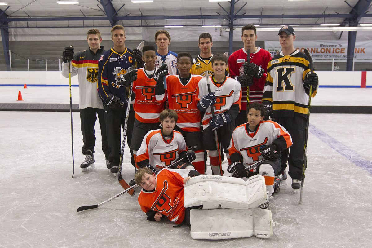 Top prospects at a youth hockey clinic prior to the 2014 NHL Draft