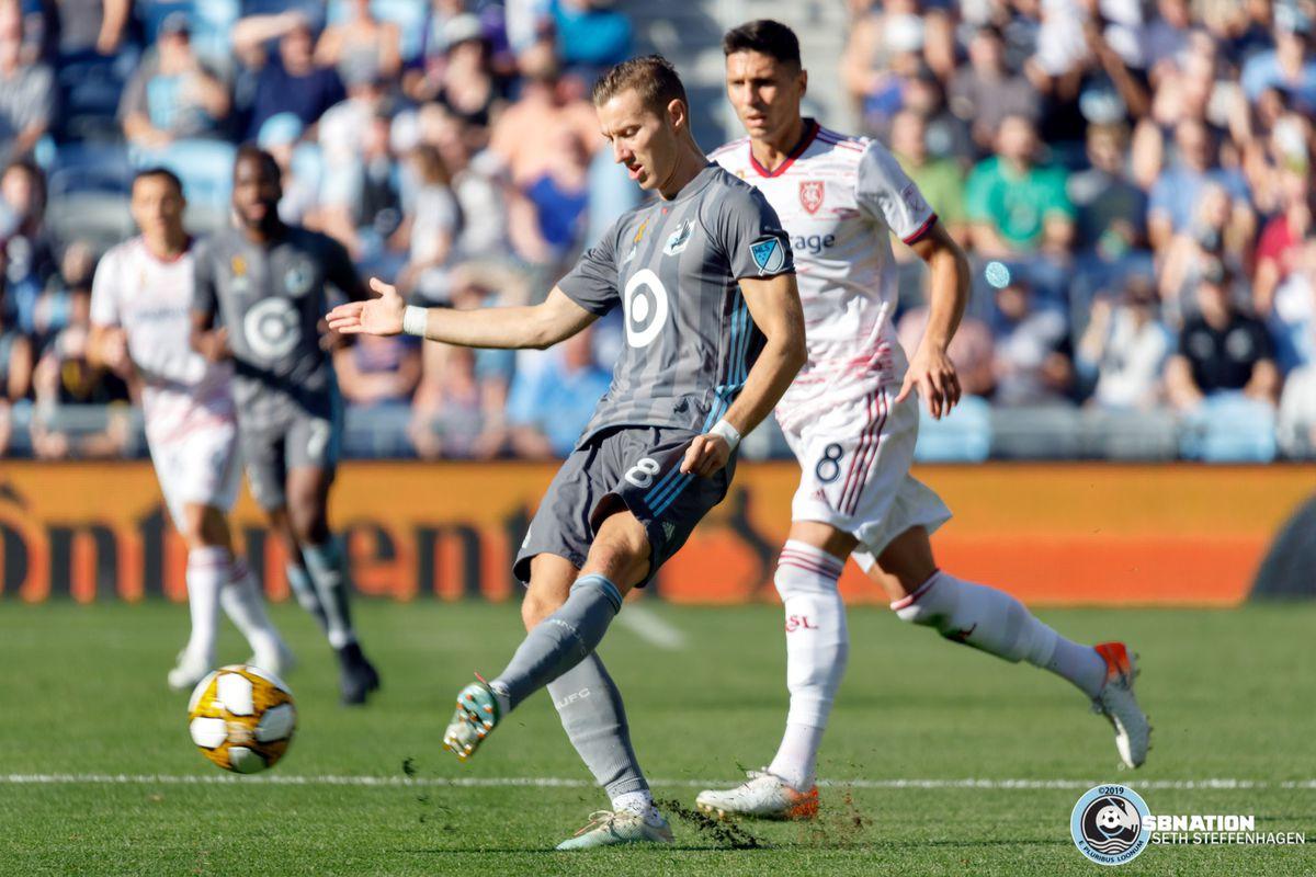September 15, 2019 - Saint Paul, Minnesota, United States - Minnesota United midfielder Ján Greguš (8) passes the ball during the Minnesota United vs Real Salt Lake match at Allianz Field.