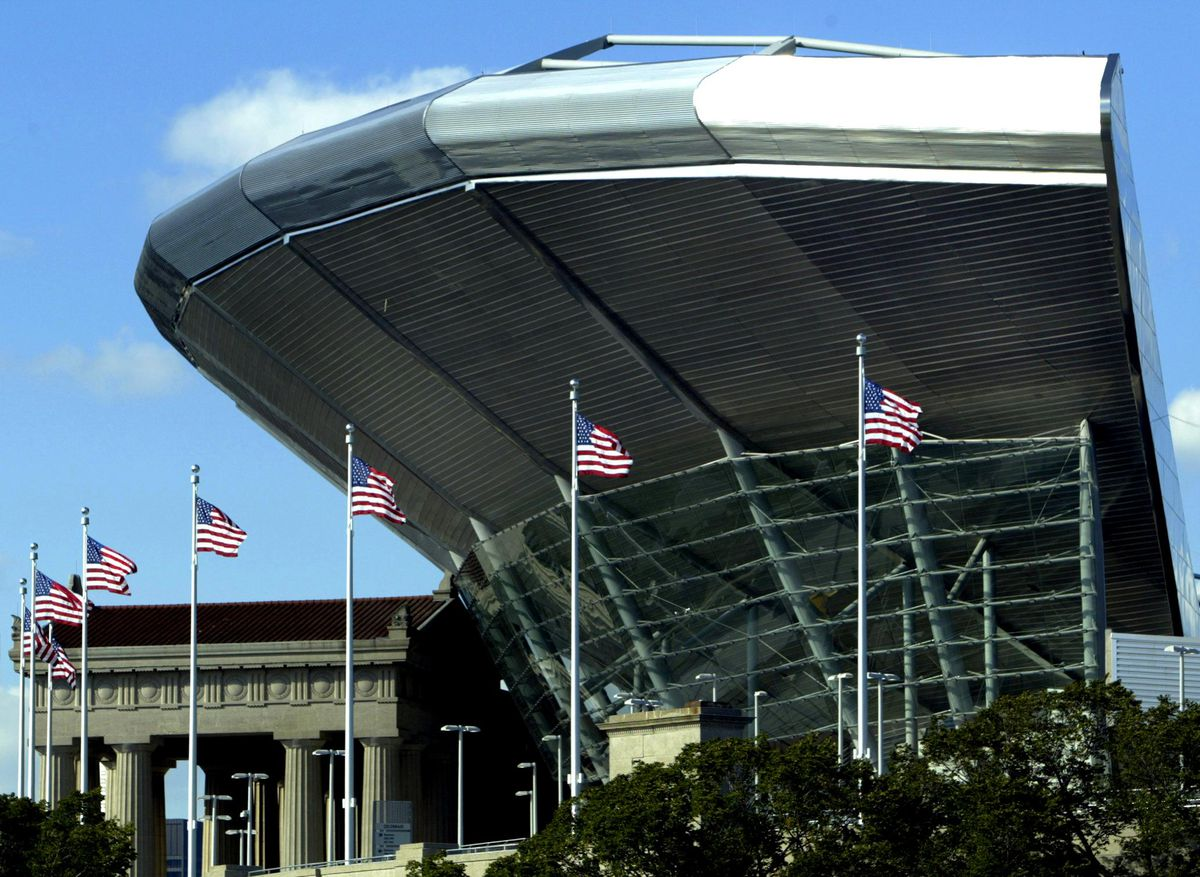 Soldier Field's renovation built a new seating bowl inside the old exterior, but it also leaves the upper grandstand on the west side of the stadium towering over the original, iconic colonnade.