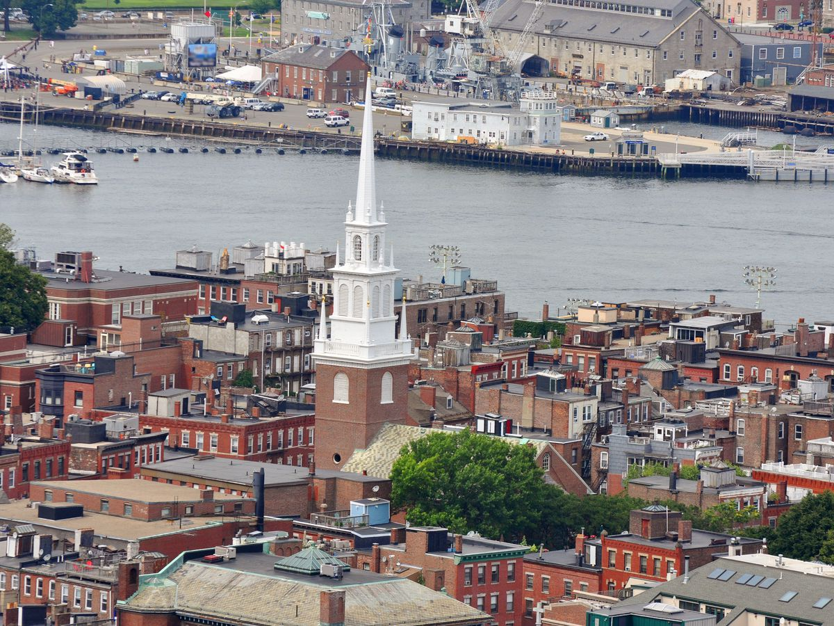 Old North Church's steeple over the North End.