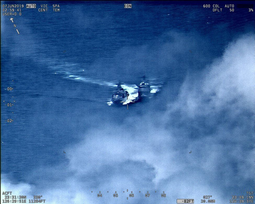 Still image of the US and Russian ship in close proximity.