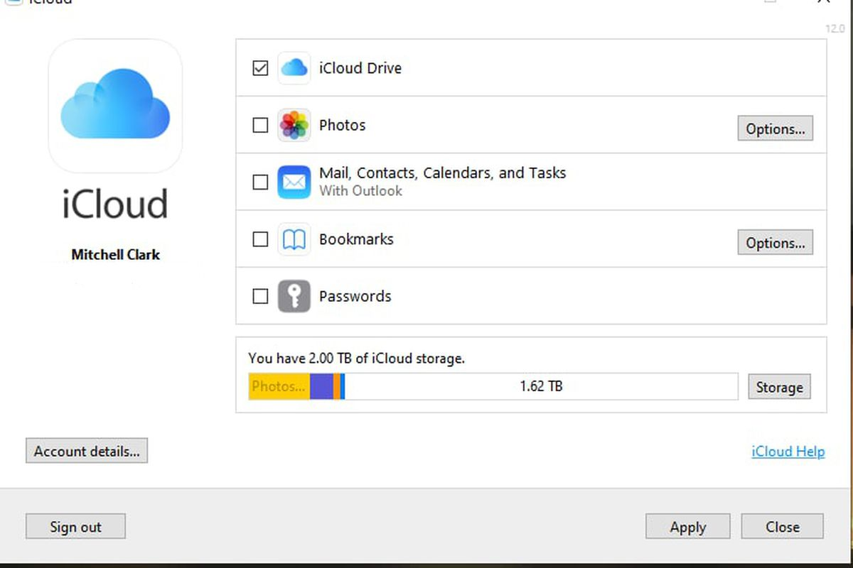 Image of the iCloud for Windows screen, with the new Passwords option