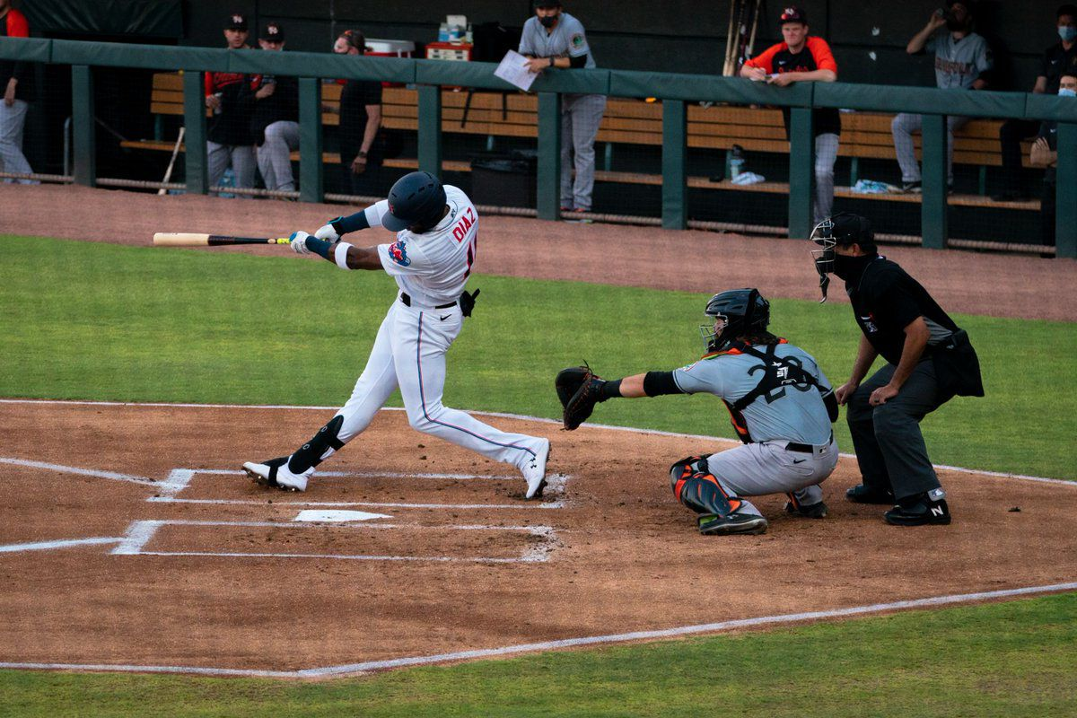 Lewin Díaz doubles home two runs for Triple-A Jacksonville in Sunday's win