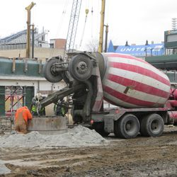 Concrete being poured in right field