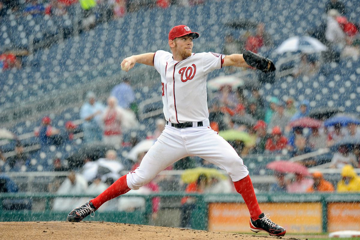 WASHINGTON, DC - MAY 15:  Stephen Strasburg #37 of the Washington Nationals pitches against the San Diego Padres at Nationals Park on May 15, 2012 in Washington, DC.  (Photo by Greg Fiume/Getty Images)