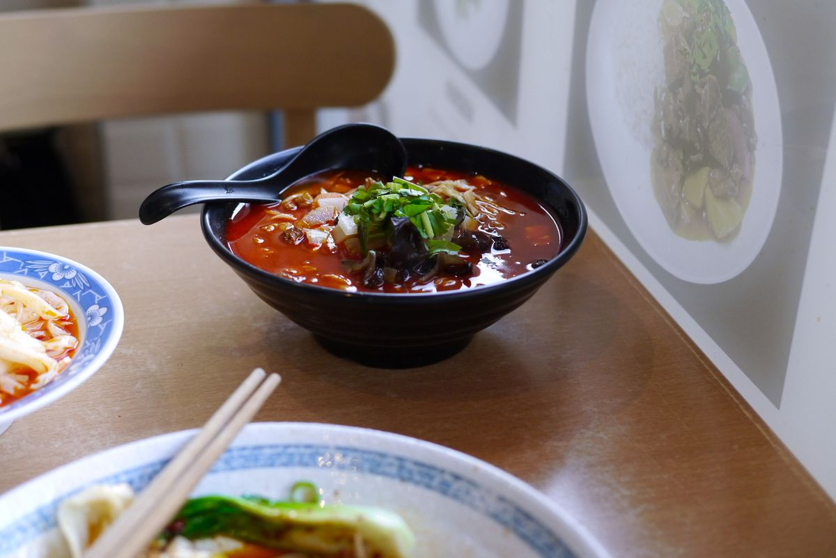 Qishan noodles in a sour broth at Xi'an Impression, a Xi'an Chinese restaurant in north London