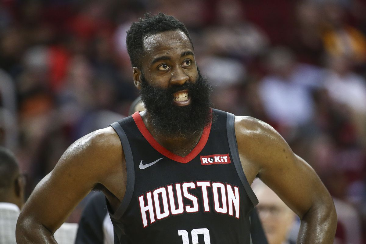 Houston Rockets guard James Harden reacts after a play during the third quarter against the Miami Heat at Toyota Center.