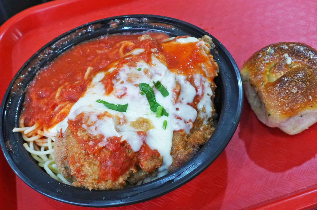 Chicken parm and spaghetti makes a nice cheap lunch.