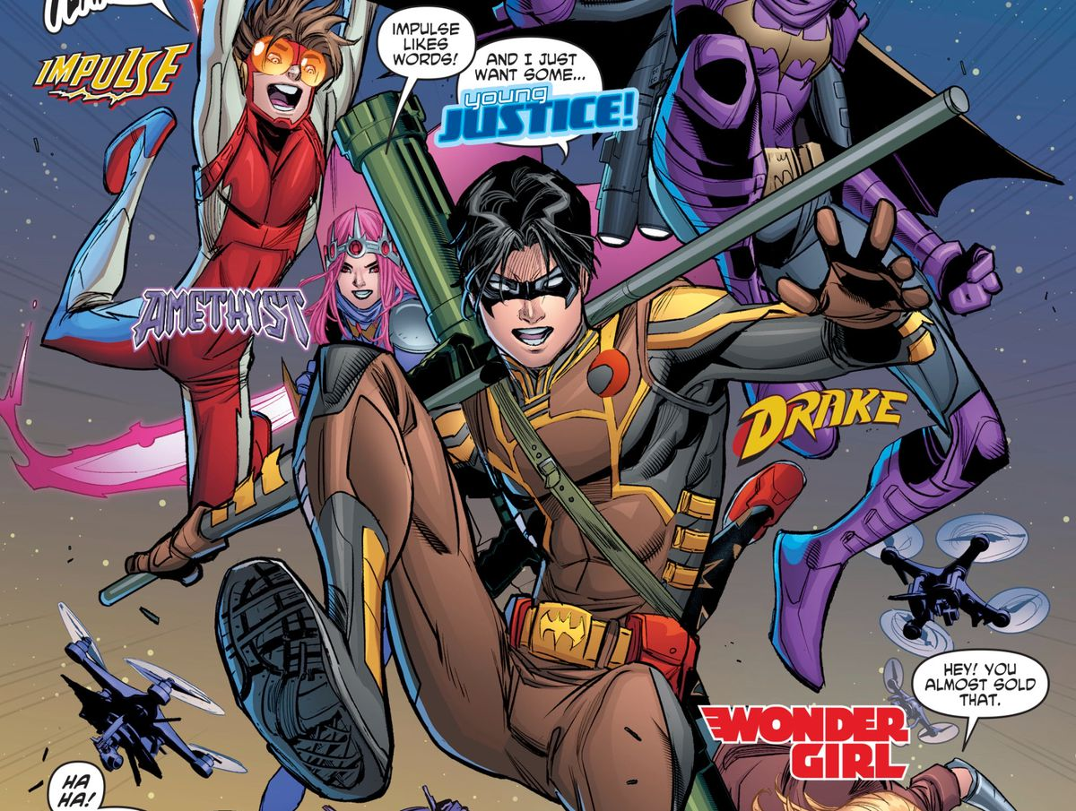 """Tim Drake's new costume with his new codename, """"Drake"""" is revealed in Young Justice #10, DC Comics (2019)."""