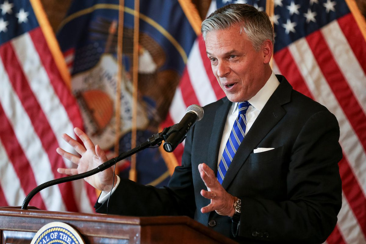 FILE - Jon M. Huntsman, Jr., United States ambassador to Russia, speaks at a ceremonial swearing-in at the Utah State Capitol in Salt Lake City on Saturday, Oct. 7, 2017. Huntsman could be a candidate for governor in 2020.