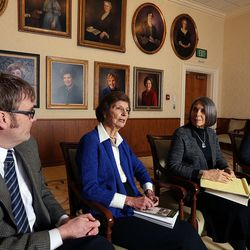 """Carol Cornwall Madsen, second from left, answers questions as co-editors of """"The First Fifty Years of Relief Society,"""" released by the LDS Church on the Church Historian's Press, are interviewed at the Relief Society Building in Salt Lake City, Monday, Feb. 22, 2016."""