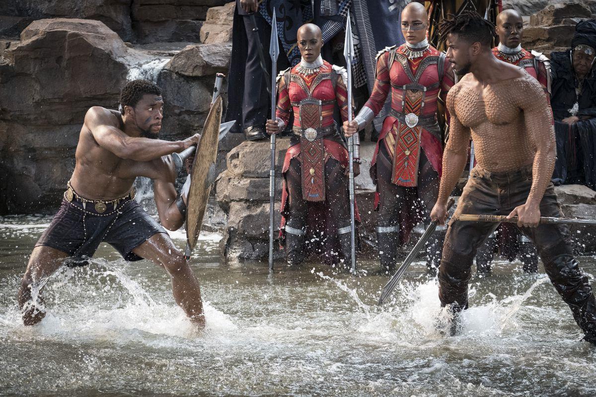 Marvel Studios' BLACK PANTHER..L to R: T'Challa/Black Panther (Chadwick Boseman) and Erik Killmonger (Michael B. Jordan)