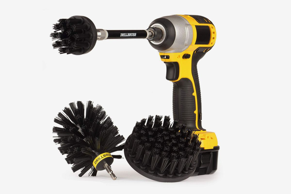 A drill equipped with a BBQ brush attachment