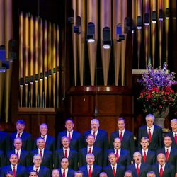 The Tabernacle Choir performs during the annual Pioneer Day concert Friday, July 18, 2014, in Salt Lake City at the Conference Center.