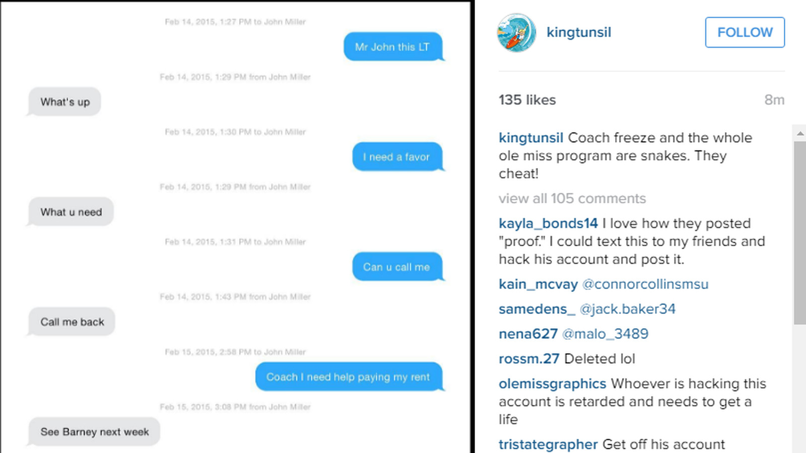 Tunsil's IG appears to depict NCAA violations