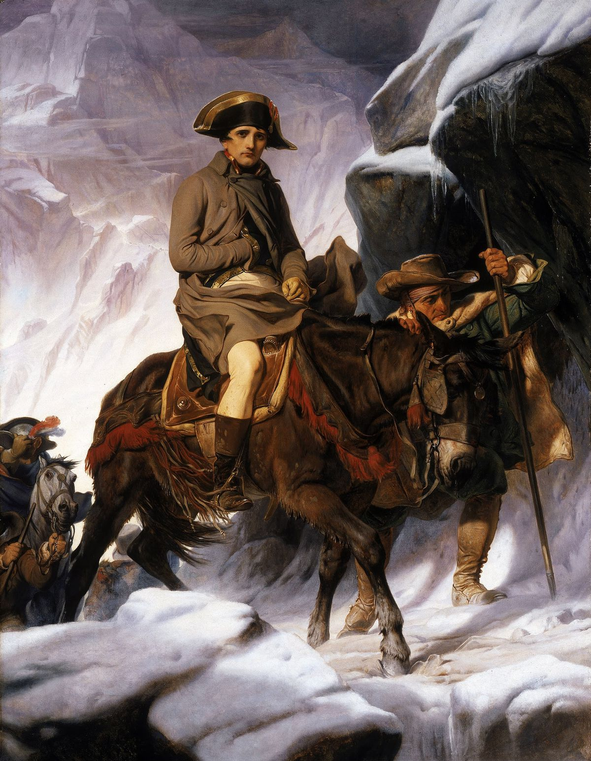 Napoleon crossing on a mule.