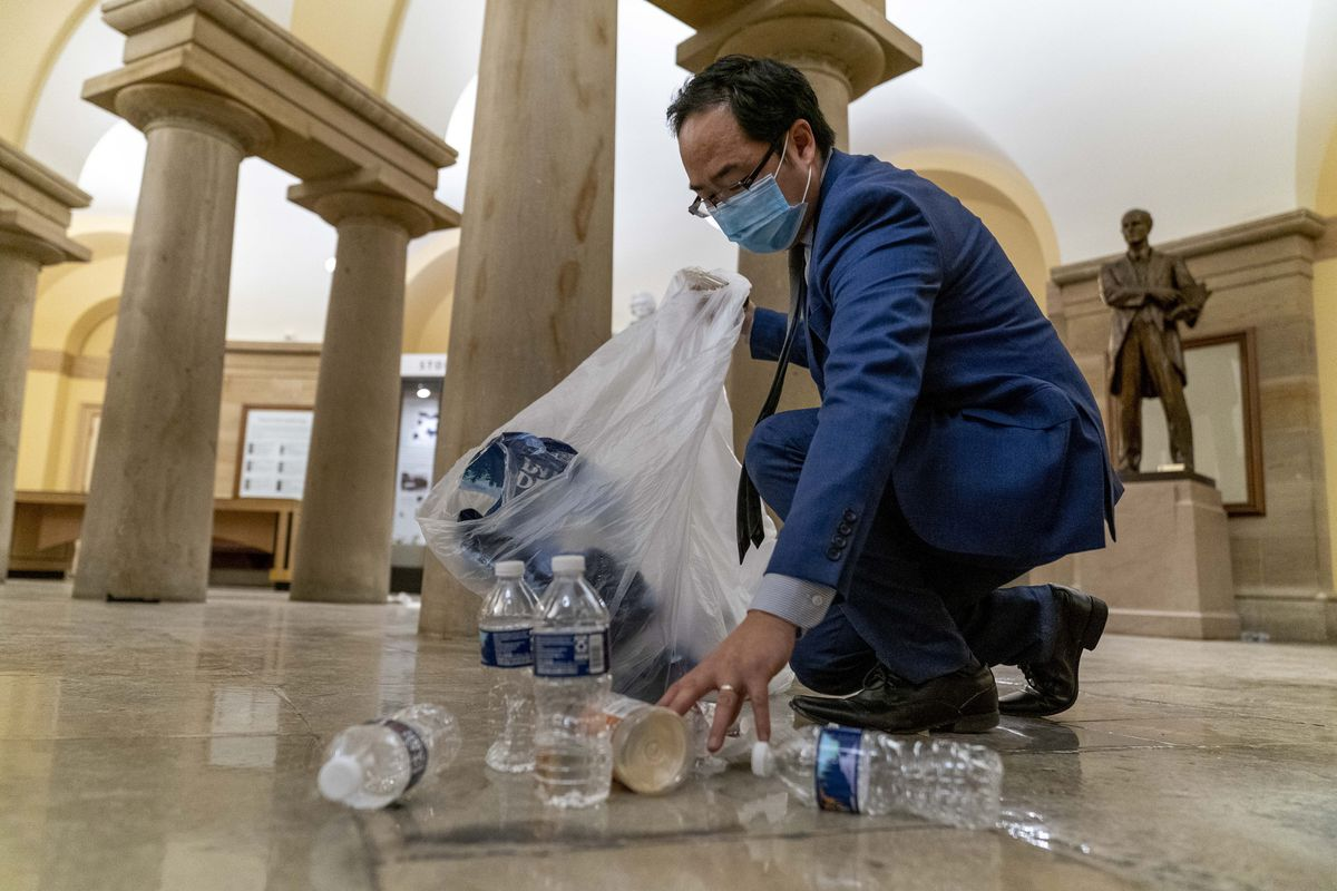 Rep. Andy Kim, D-N.J., after protesters stormed the Capitol in Washington, on Wednesday.