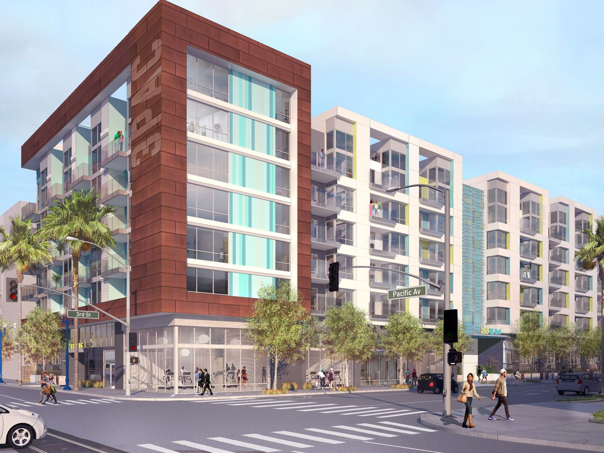 A rendering of the seven-story project, which shows ground floor retail with apartments above.