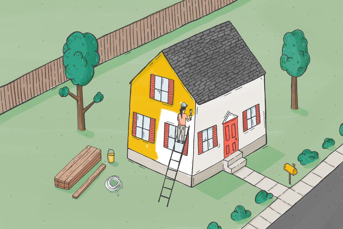 An illustration of a woman painting a house, with a pile of lumber on the ground.